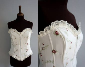 Floral Embroidered Corset / White Corset Top with Roses