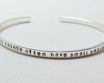 Sterling Silver Cuff Bracelet, Personalized, Stacking Bracelet, Quotes, Lyrics, Gift for Wife, Gift for Best Friend