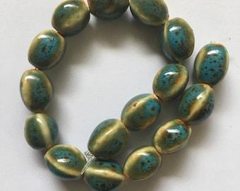 Blue and Green Handpainted Ceramic Beads