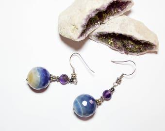 Silver agata earring blue amethyst