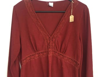 Rust Red Long Sleeve Shirt Womens Size L