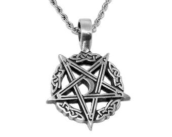 Pewter Inverted Moon Pentagram Pentacle Pendant Necklace with Chain