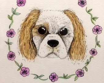 Cavalier King Charles Spaniel dog print