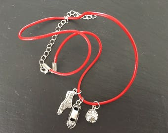 Leather necklace/bracelet with boys charms