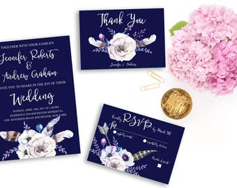 Wedding Invitation Suite Printable Floral Digital Wedding Navy Blue Watercolor White Flowers Boho Invitation Bohemian Wedding Invite WS-007