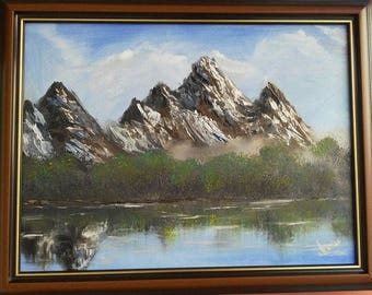 Wall Decor.Oil canvas painting. Painting Forest. Painting landscape with lake.Painting with mountain. Scenery