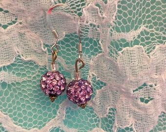 Handmade Sparking Purple Earrings
