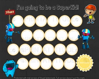Reward Chart for kids, Behavior Chart, Kids Reward, Child Behavior Chart, Kids Reward Chart, Motivation Chart,Robot Art