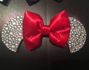 Silver bedazzled Mickey ear baseball cap