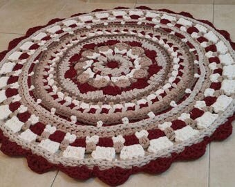 Crochet mandala ruond rug, 120cm