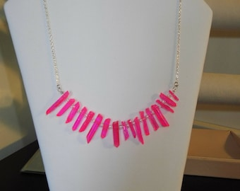 Neon pink crystal necklace , pink crystal, raw crystal, necklace