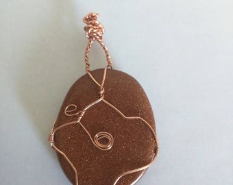 Wire Wrapped Brown Agate Infused with Copper