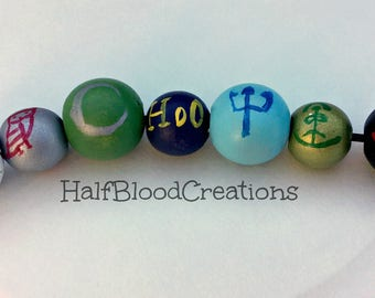 Personalized Camp Half-Blood Necklace   7 Beads   By Request Only   Hand Painted Wooden Beads   Sample Picture  