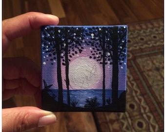 mini painting, mini canvas, acrylic painting, painting, miniatures. gift ideas, home decor, office decor