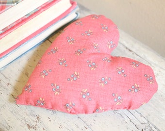 Red Floral Lavender Heart Pillow