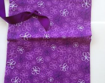 Sew Simple purple floral print drawstring bag