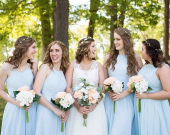 peach bridesmaid bouquets, ivory, white, peach, bridesmaids