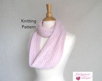 Featherweight Infinity Scarf Knitting Pattern, Easy Lace Scarf, Light Airy, Alpaca Lace Sport DK Yarn