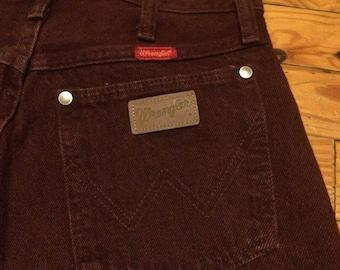 Highwaisted wrangler jeans 80s 90s western burgundy straight leg skinny 28 cowgirl authentic
