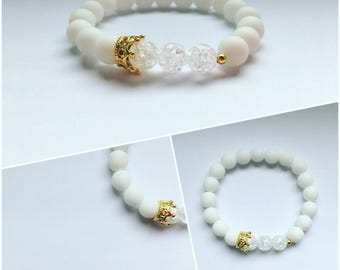 White Onyx Bead Bracelet