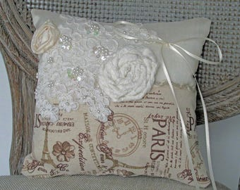Paris Lace and Flower Ring Bearer Pillow.