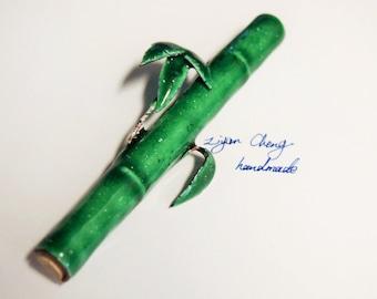 green enamel bamboo brooch