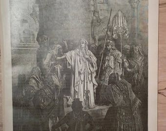 Queen Vashti Refusing to Obey the Commands of Ahasuerus - Vintage Bible Lithograph Print