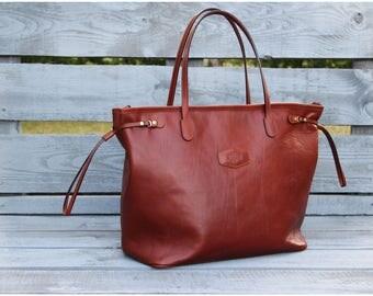 Designer Handmade Bag, Leather Zip Tote Cognac, Leather Satchel, Womens purse
