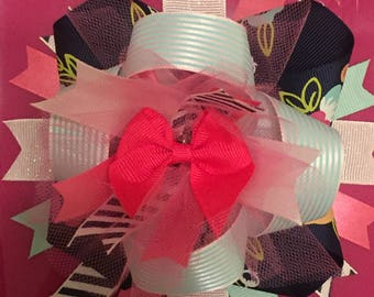 Navy, Mint, Pink, and Floral Over The Top (OTT) Hair Bow