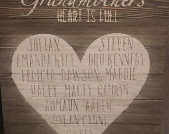 Grandmother Heart Is Full Wood Sign