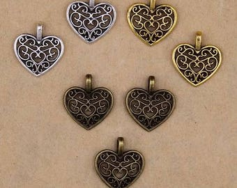 Heart Charm Pendant - Set of 10 - 16mm x 14mm - Jewelry Supplies