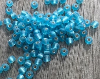 Light Blue Glass Seed Beads - 10 grams / 200 pieces - 3mm - Beading Supplies