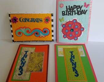 Set of 4 hand made greeting cards