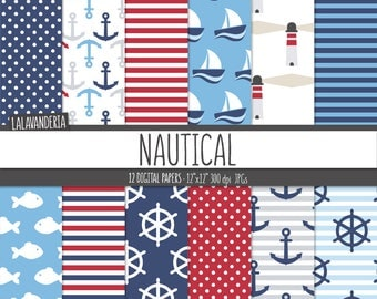 Nautical Digital Paper Pack. Anchor, Rudder, Sailboat, Fish and Lighthouse Patterns. Navy Summer-Coastal Backgrounds. Digital Scrapbook