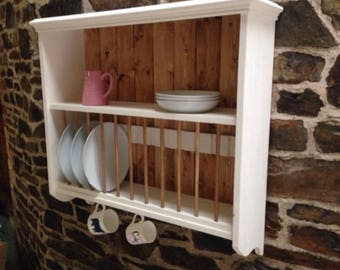 large solid pine kitchen plate rack