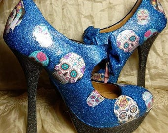 Day of the dead shoes, high heels, women's shoes, stiletto heels, bow knot heels, funky shoes, customised shoes