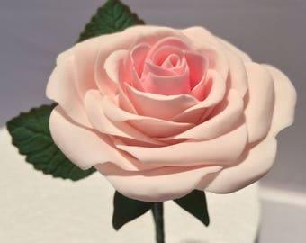 Soft Pink Sugar Flower Paste Tea Rose Cake Topper