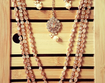 Long Indian, Pakistani 3 layer polki stones bridal haar.