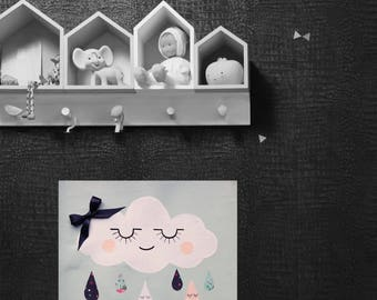 Child/baby room, wall decor, cloud painting.