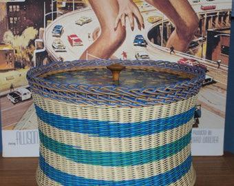 Retro Vintage Mid Century 1950s 1960s Atomic Wicker Sewing Box