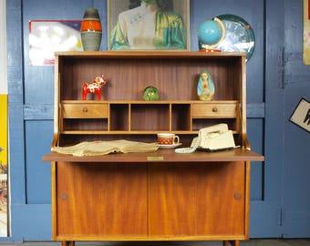 Retro Vintage Mid Century 1960s Teak Bureau Desk