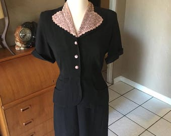 Original Vintage 1940's Pink and Black Crepe Rayon Dress with beaded collar - M