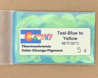 Thermochromic Color Change Powder Pigment 5 Grams Teal Blue to Yellow 88F