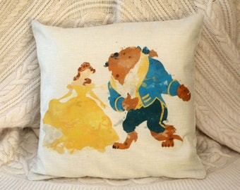 beauty and the beast  princess belle and beast dancing watercolour  inspired cushion cover 45 by 45 cm love couple gift