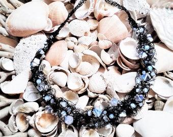 Wire crochet handmade Opalite Moonstone Necklace