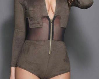 Olive Green Faux Suede Bodysuit