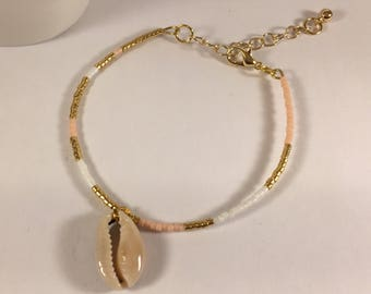 Bracelet cauri is happiness and pink and gold miyuky beads