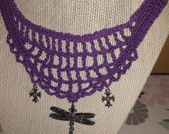 purple crochet necklace with dragonfly charm