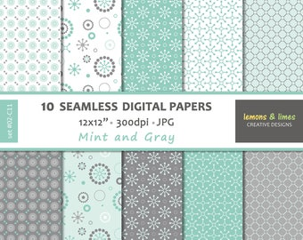 DIGITAL PAPERS - JPG | 300dpi | 12x12in - Seamless Pattern, Backgrounds, Digital Scrapbooking - Mint And Gray - set#02-C11
