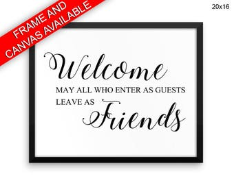 Welcome Wall Art Framed Welcome Canvas Print Welcome Framed Wall Art Welcome Poster Welcome Home Art Welcome Home Print Welcome friends
